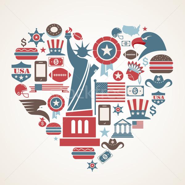 Amerika sevmek kalp şekli çok vektör simgeler Stok fotoğraf © marish