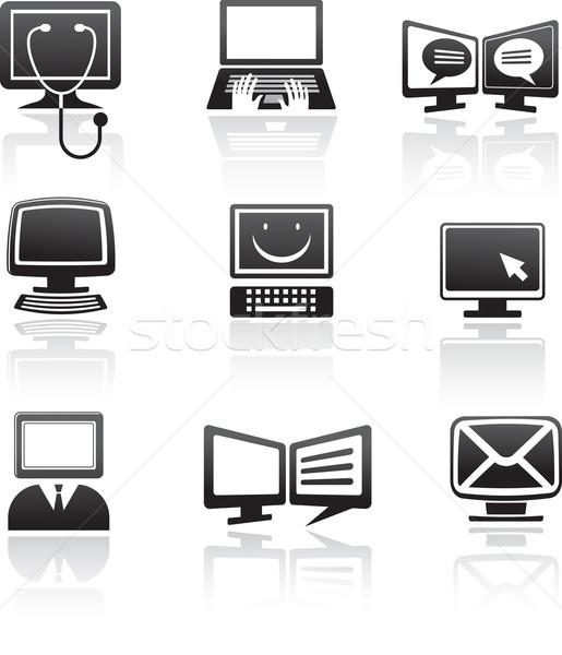 Conjunto ícones do computador elementos vetor computador mouse Foto stock © marish
