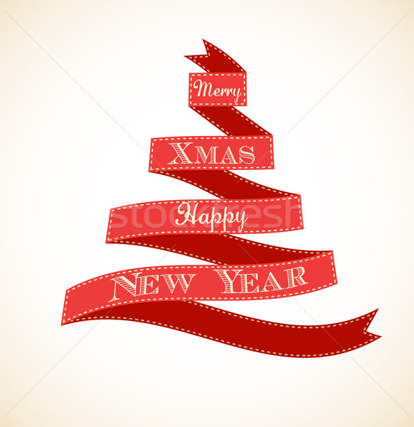 Christmas vintage wenskaart boom kerstboom Stockfoto © marish