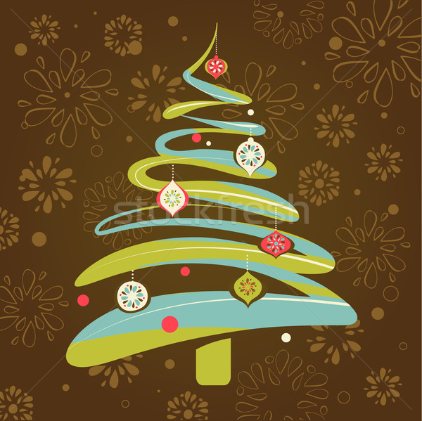 Christmas kerstmis boom retro patroon vector kunst Stockfoto © marish
