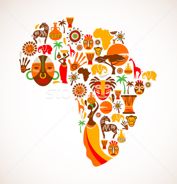 Map of Africa with vector icons Stock photo © marish