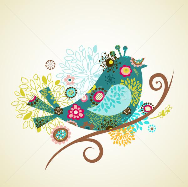 Stock fotó: üdvözlőlap · madár · húsvét · természet · terv · nyúl