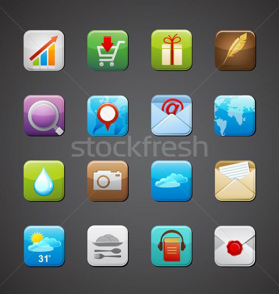 Zdjęcia stock: Kolekcja · aplikacje · ikona · smartphone · aplikacja · wektora