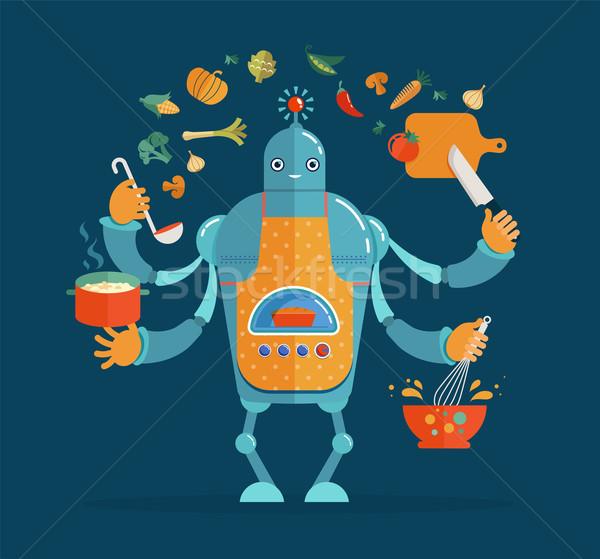 Multitasking robot chef baking and cooking Stock photo © marish