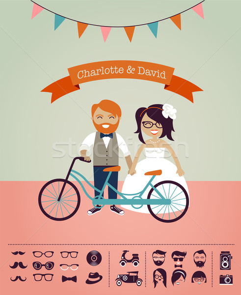 Hipster wedding - design your own invitation card Stock photo © marish