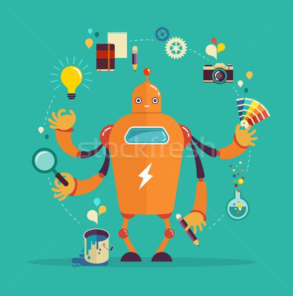 Robot graphic designer - creative thinking  Stock photo © marish