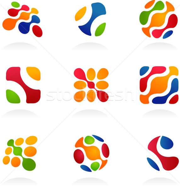 Stock photo: Business abstract icons, colorful set