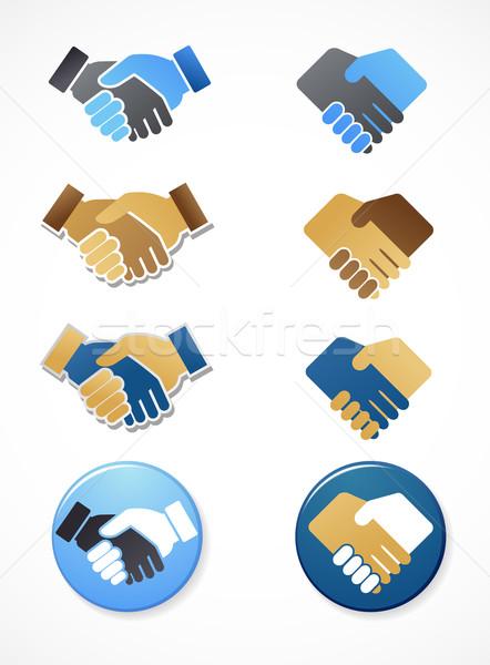 коллекция рукопожатие иконки Элементы вектора Сток-фото © marish