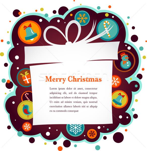 Foto stock: Navidad · caja · de · regalo · cute · iconos · mujer · arte
