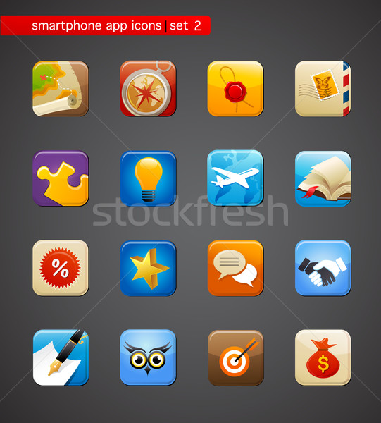 коллекция приложения иконки смартфон применение вектора Сток-фото © marish
