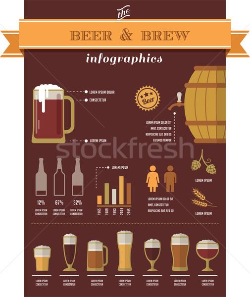 пива Инфографика Элементы коллекция иконки бизнеса Сток-фото © marish
