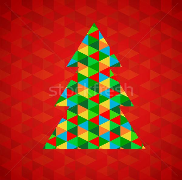 Stockfoto: Abstract · kerstboom · Rood · vector · boom · stad