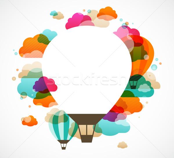 Hőlégballon színes absztrakt vektor szöveg űr Stock fotó © marish