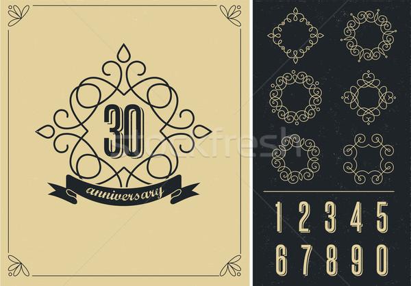 anniversary - art line background with frames Stock photo © marish