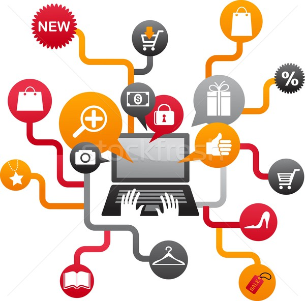 Stock photo: Internet shopping with set of icons