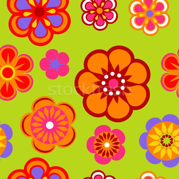 Naadloos bloempatroon bloem ontwerp zwarte behang Stockfoto © marish