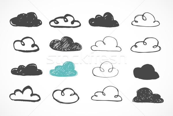 Stok fotoğraf: Vektör · el · çizim · bulutlar · simgeler · sevimli