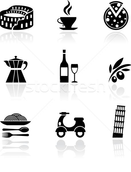 İtalya vektör simgeler siyah toplama restoran Stok fotoğraf © marish