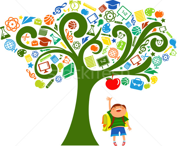 back to school - tree with education icons Stock photo © marish