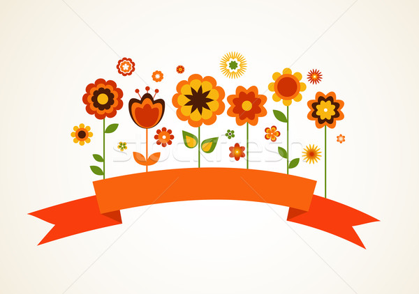 Stock photo: Vector greeting card with flowers and ribbon