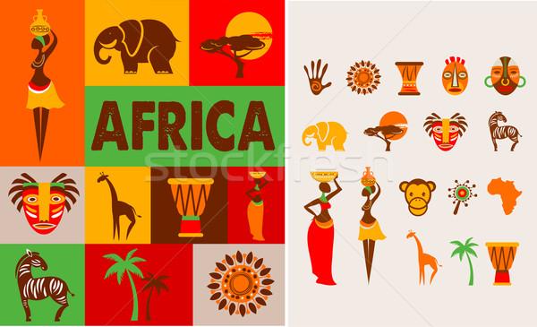 Африка плакат набор дерево человека Сток-фото © marish