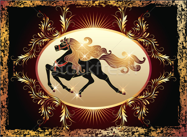 Galloping horse and luxurious ornament Stock photo © Marisha