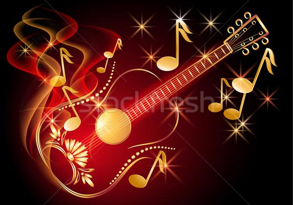 Guitar and musical notes Stock photo © Marisha
