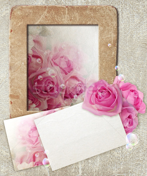 Grunge frame with roses and paper  Stock photo © Marisha