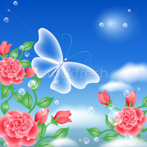 Farfalla rose cielo fiore pace volare Foto d'archivio © Marisha