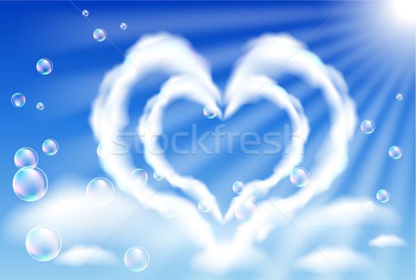 Stock fotó: Felhő · szívek · égbolt · buborékok · nap · légy