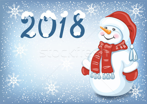Christmas card with funny Snowman against snowfall background an Stock photo © Marisha