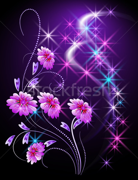 Glowing background with flowers and stars Stock photo © Marisha