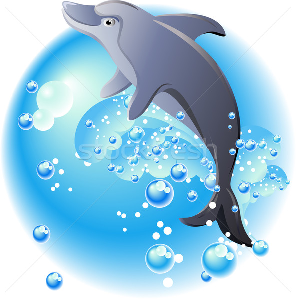 Dolphin in water clipart