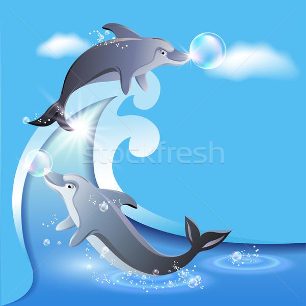 Volante plantilla dos delfines negocios nubes Foto stock © Marisha