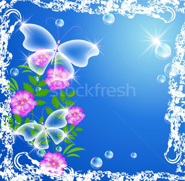 Trasparente farfalle cielo fiori primavera frame Foto d'archivio © Marisha