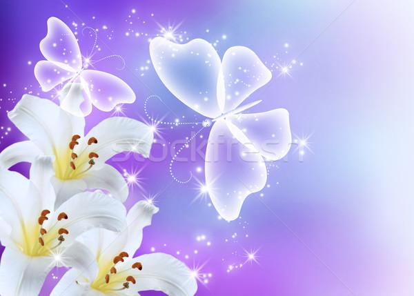 Gigli fiore farfalle trasparente fiore felice Foto d'archivio © Marisha