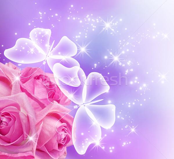 Roses blossom and butterflies Stock photo © Marisha