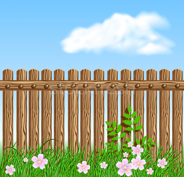 Wooden fence on green grass with flowers Stock photo © Marisha