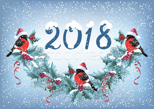 Christmas card with  bullfinches on the snowfall background in r Stock photo © Marisha