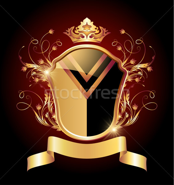 Medieval heraldic shield ornate golden ornament Stock photo © Marisha