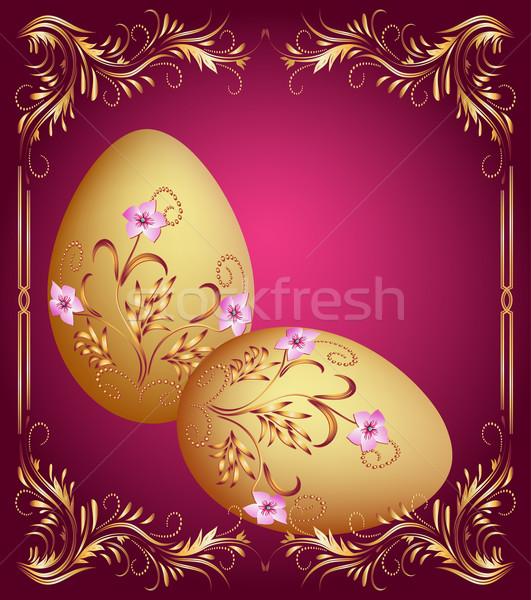 Easter eggs biglietto d'auguri uovo arte pattern celebrazione Foto d'archivio © Marisha
