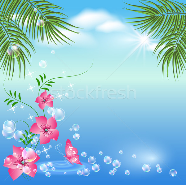 Marinos paisaje palmeras flores mariposas nubes Foto stock © Marisha