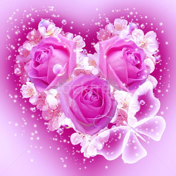 Fiori a forma di cuore carta bouquet farfalla fiore Foto d'archivio © Marisha