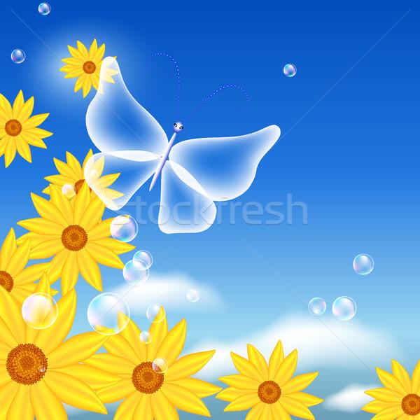 Fiori farfalla cielo bolle carta ali Foto d'archivio © Marisha