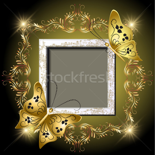Grungy photo frame, butterflies and golden ornament Stock photo © Marisha