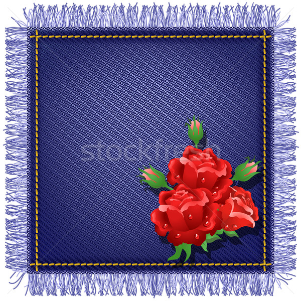 Napkin from jeans fabric and red roses Stock photo © Marisha