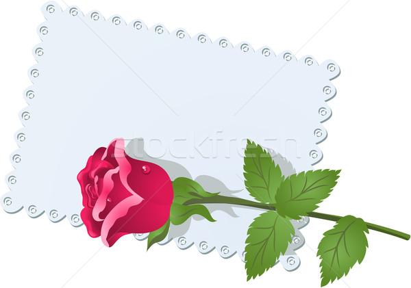 Pizzo tovagliolo rosa biglietto d'auguri fiori abstract Foto d'archivio © Marisha