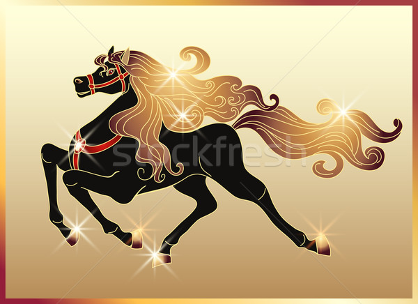 Galloping horse with a gold mane Stock photo © Marisha