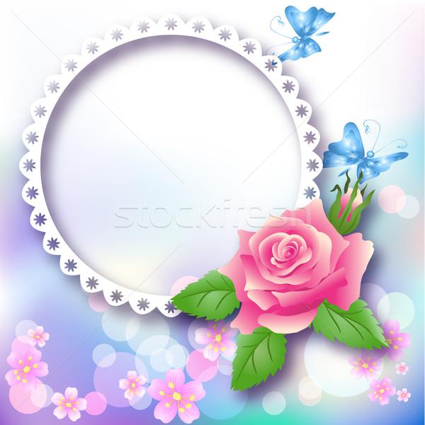 Oldal elrendezés fényképalbum rózsa pillangó absztrakt Stock fotó © Marisha