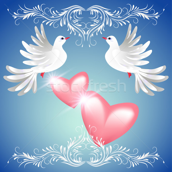 Due colomba cuori blu rosa bianco Foto d'archivio © Marisha